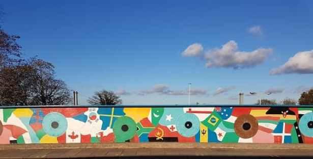 view of Mill Road Bridge artwork
