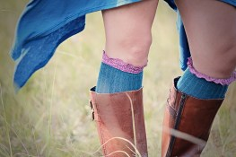Mohair Knee-highs & Brown leather boots