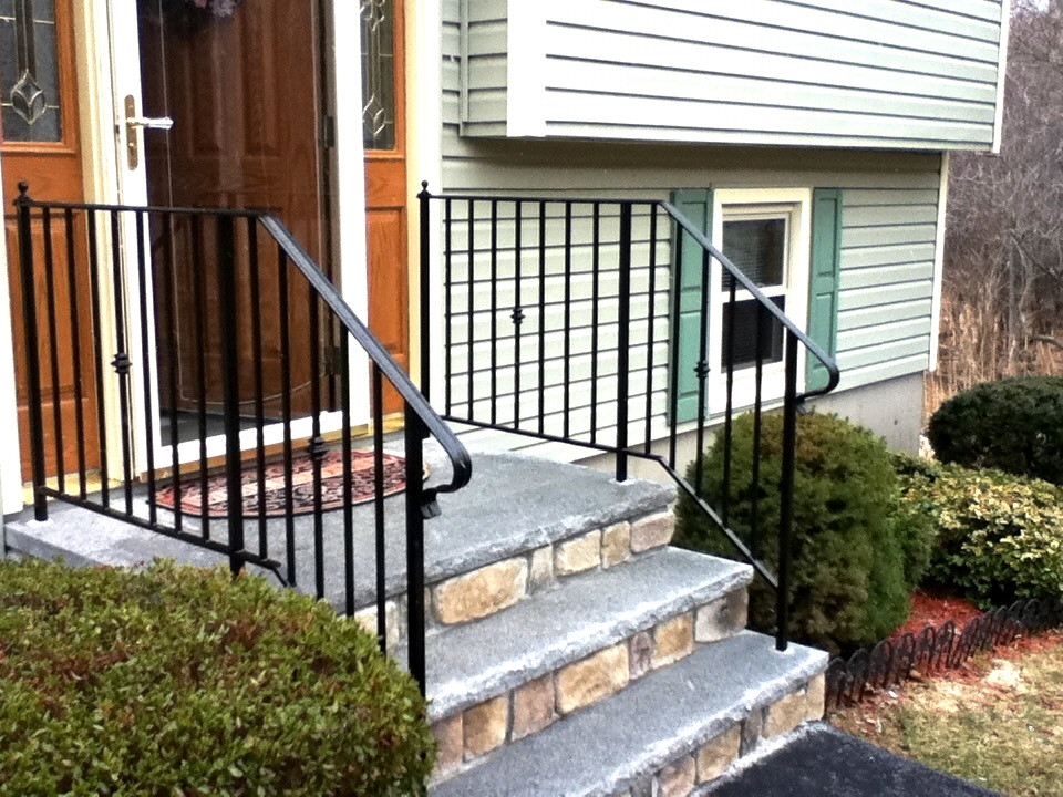 Custom Iron Railings Wrought Iron Railings Mill City Iron | Safety Rails For Outside Steps | Stair Handrail | Wrought Iron | Steel | Front Porch | Deck Railing