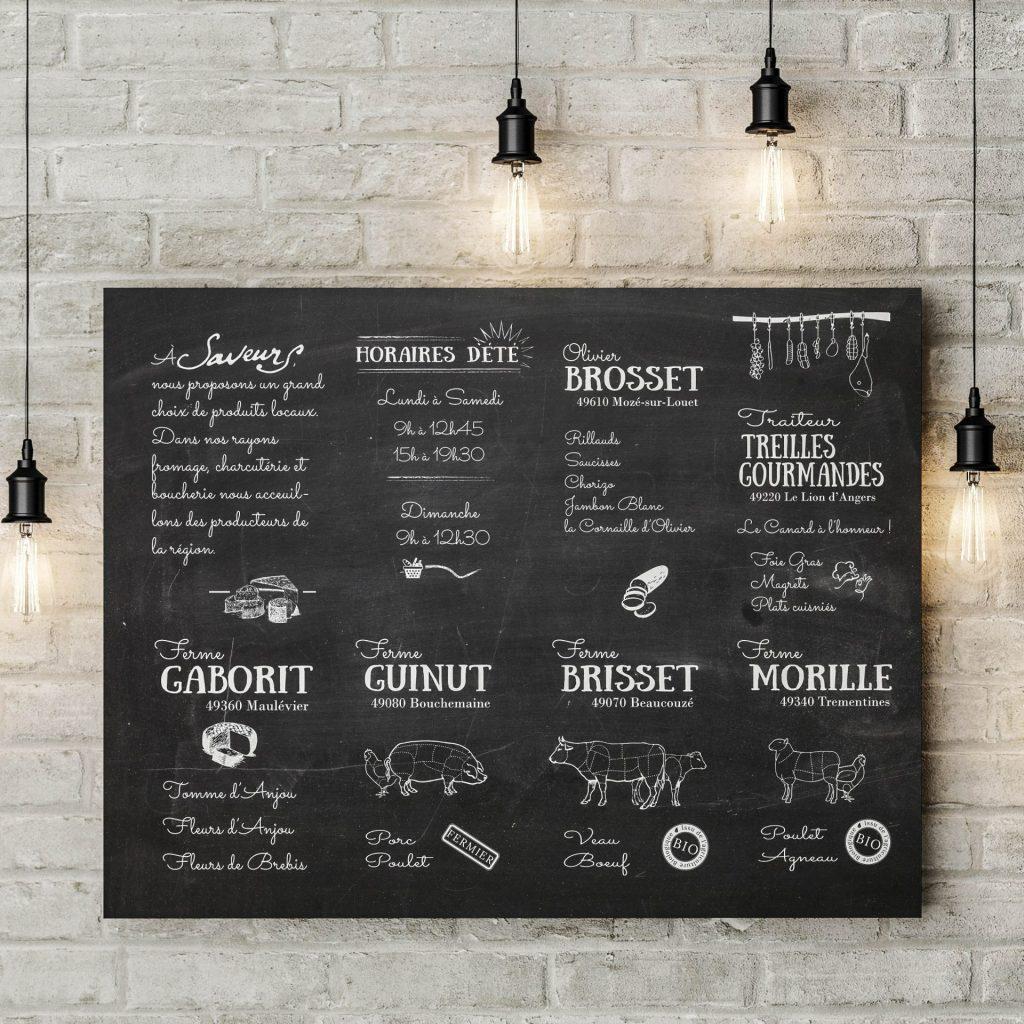 Affiches pour l'épicerie Saveurs