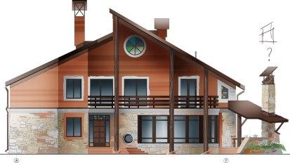 Уютный загородный дом. Проект главного фасада