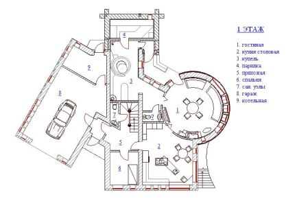 Дом с круглой гостиной. План 1-го этажа