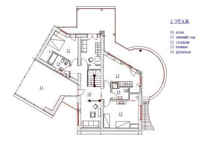 Дом с круглой гостиной. План 2-го этажа