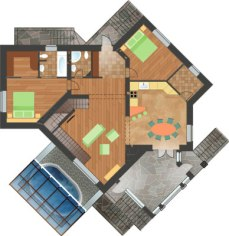 Проект загородного дома. План 1-го этажа