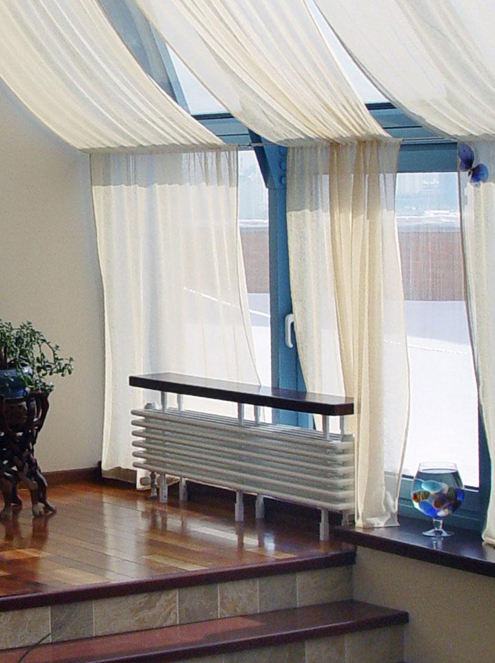 Дизайн интерьера квартиры в пентхаусе. Отопительная батарея