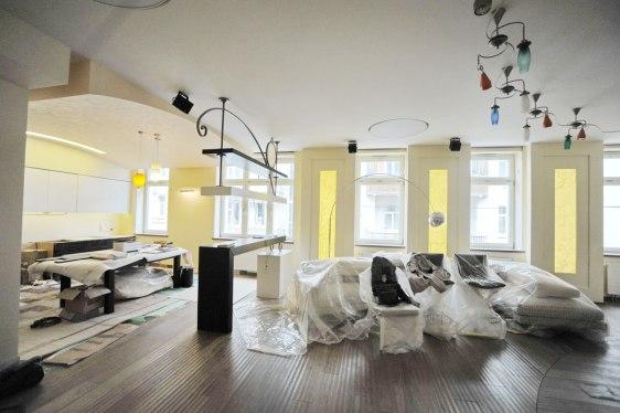 Дизайн интерьера квартиры. Гостиная, открытая кухня