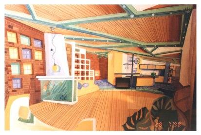 Дизайн квартиры в мансарде. Эскиз гостиной