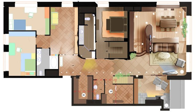 Дизайн интерьера квартиры в стиле Гауди. План