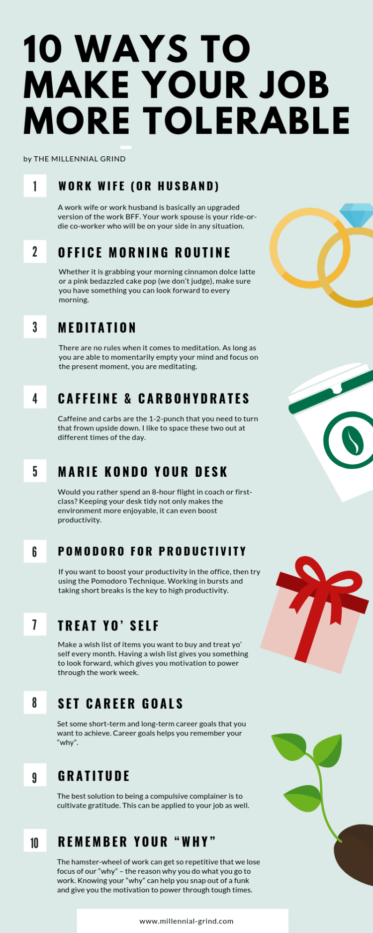 10 ways to make your job more tolerable infographic format