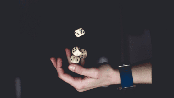 hand holding dice