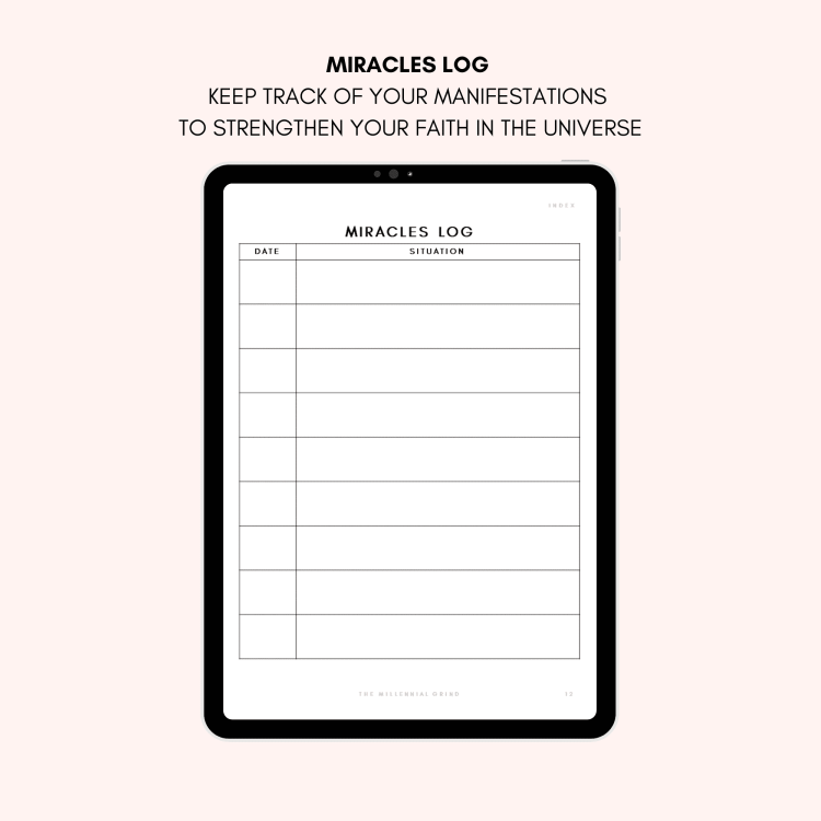 Law of Attraction Planner - Miracles Log