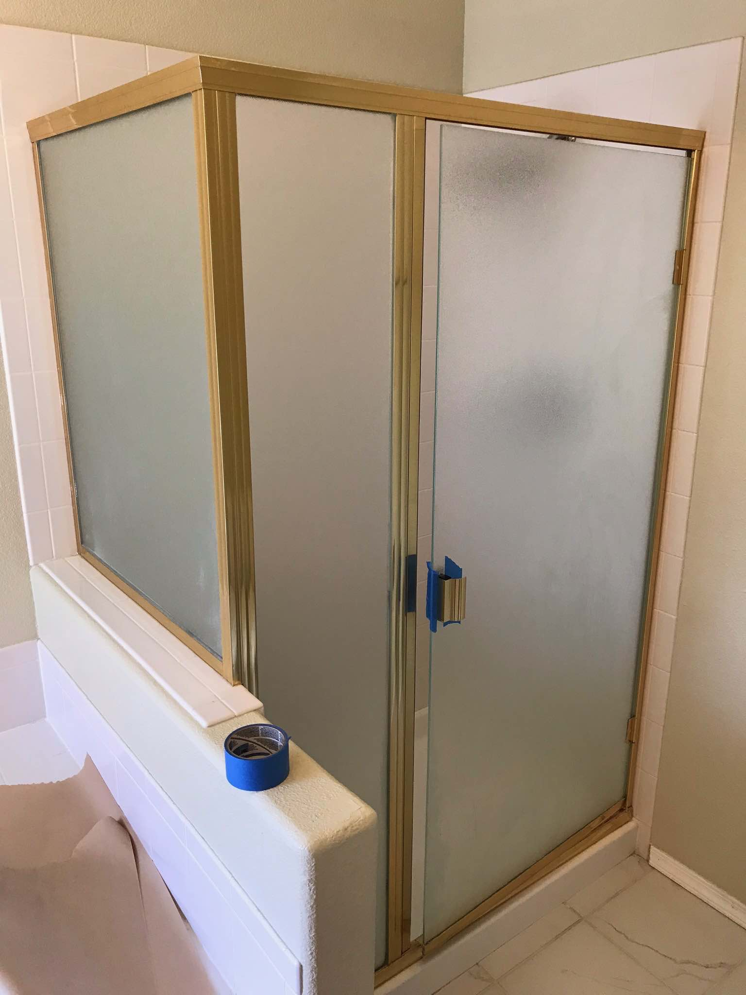 How To Paint A Brass Shower Frame For 30 Shower Door Diy