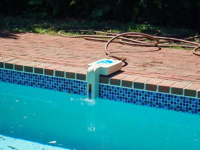 The pool's water level probably went down from opening the housing or messing with the system. Now would be great time to refill it. One of these automatic fillers is perfect for the job.