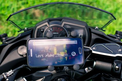 A USB Charger combined with a phone mount is a must have for any bike these days.
