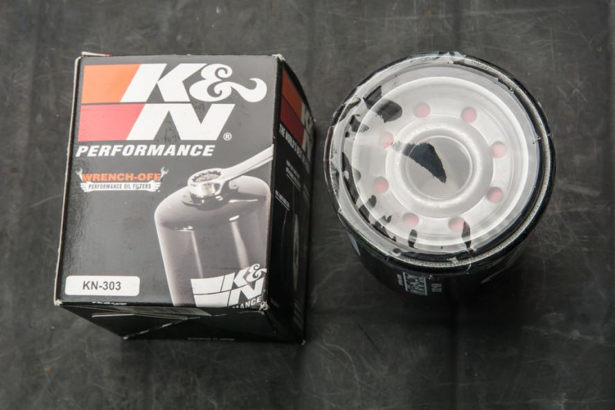Motorcycle oil change oil filter.