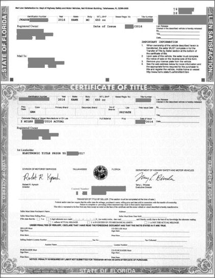 "Your Title should look something like this. On the bottom there's a form to transfer ownership. While the ""Bill of Sale"" determines the terms of the sale (for the most part only applicable if something went wrong), the signed certificate of sale is really all that's needed for a buyer to transfer the vehicle to themselves."