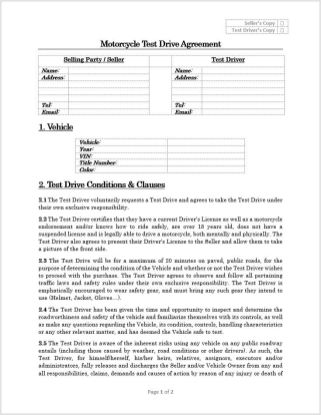 As much as I want to sell my motorcycle, there's no need to take risks. If your going to let someone test drive your vehicle, better be safe than sorry and have them fill this out.