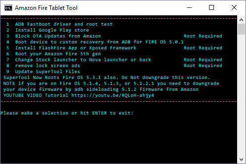 Here's the RootJunky SuperTool for the Amazon Fire 7 2015 tablet. It's where you can select the operations needed for this DIY.