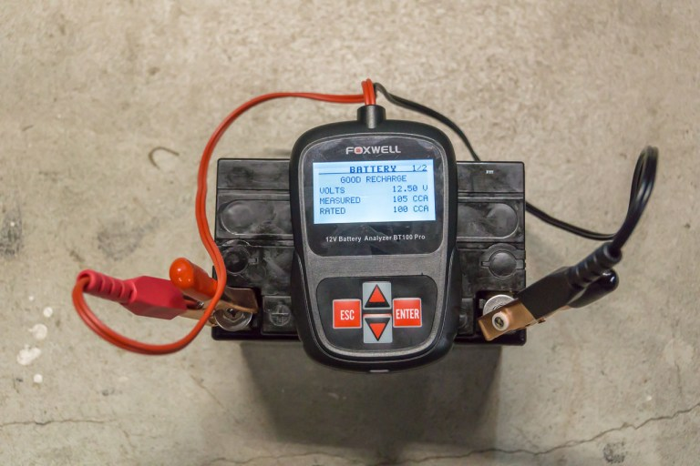 A multimeter is near-useless to determine a car battery's state of health. For that you'll need either the tried-and-true Carbon-Pile Load Tester, or the newer style of Digital Battery Analyzers (like the one pictured here).