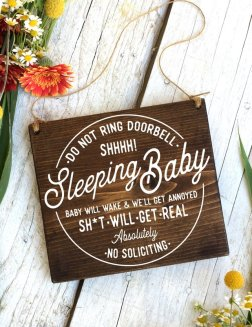 shhhh sleeping baby no soliciting sign for unwelcome visitors