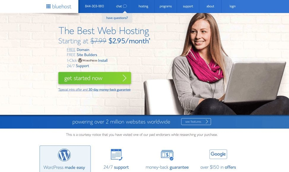 how to start a blog with hosting options with Bluehost