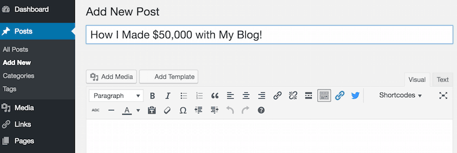 how to start a blog post using bluehost
