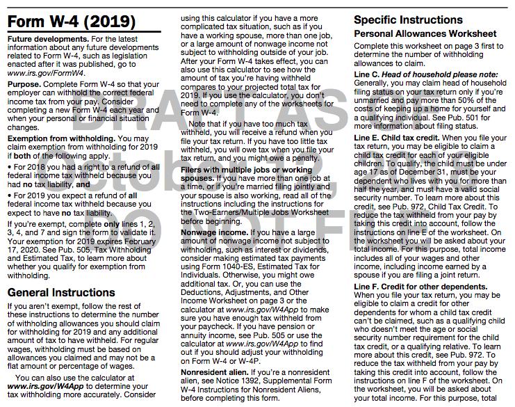 W-4 Form 2019 Draft
