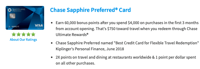 Chase Sapphire Preferred Offer Details