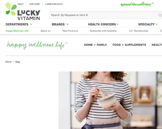 Lucky Vitamin Blog Redesign