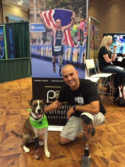 Keating poses with World Champion Triathlete Mabio Costa