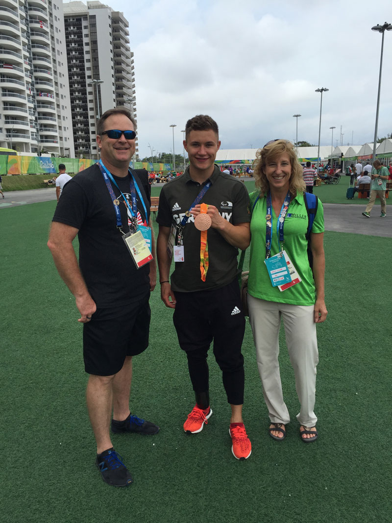 Mark, Felix and Nancy. Each medal also makes a different noise for the visually impaired.