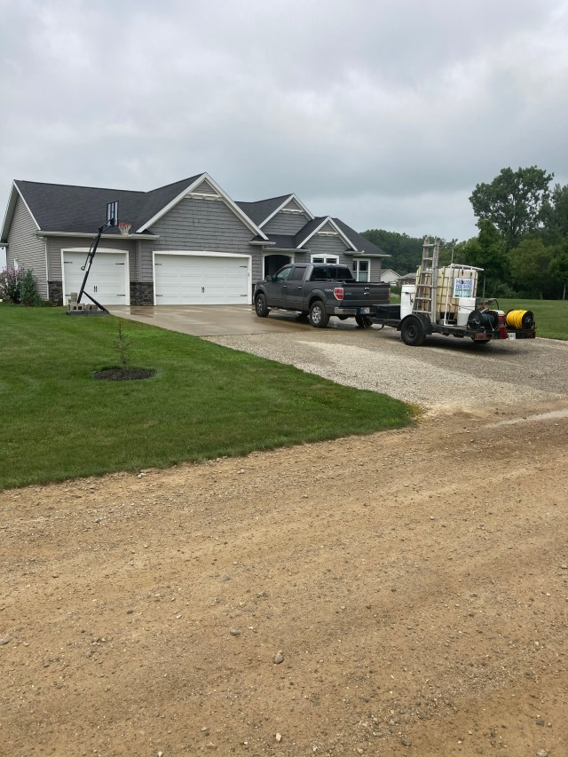 House washing service completed on this house in Millersburg Indiana