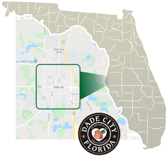 florida map with close up of dade city where Tree Care by Robert Miller works