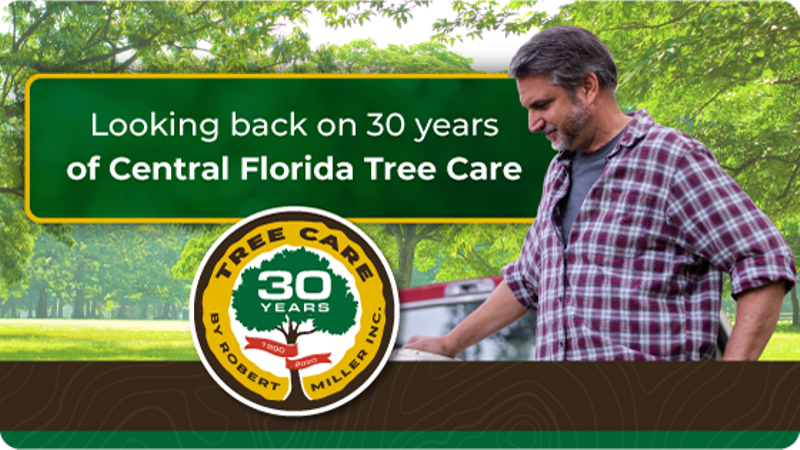 Central Florida Tree Care with 30th Anniversary Logo and Robert Miller standing beside his truck.