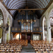 Pleyben: voûte lambrissée du XVI ème siècle de l'église Saint Germain