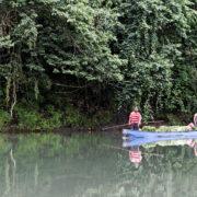 Navigation sur le Rio Yorkin à bord d'une pirogue à moteur