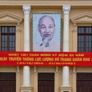 Comme partout au Vietnam, de nombreux portraits d´Ho Chi Ming