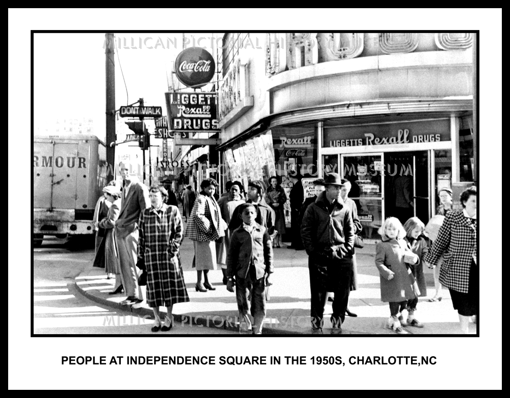 People At Independence Square In The 1950s Charlotte North Carolina Millican Pictorial