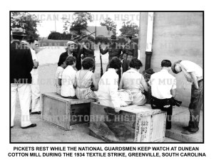 T1590-Pickets rest while Nat Guardsmen keep watch at Dunean Cotton Mill -1934 Textile Strike-Greenville-SC-C-JB