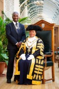 Picture by Dave Warren / Picture Team. 18/03/2018. Birmingham, UK. Birmingham Lord Mayor Yvonne Mosquito and her consort Winston. Photo credit: Dave Warren/Picture Team