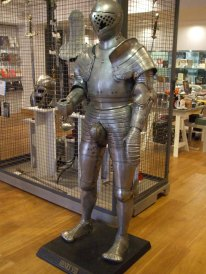 Henry V111 replica suit of armour in the the shop