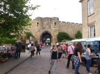 Market stalls outside the East Gate of the castle