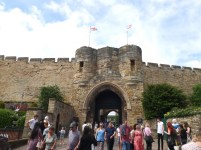 People outside the East Gate of the castle