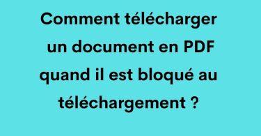 Comment télécharger un document en PDF quand il est bloqué au téléchargement ?