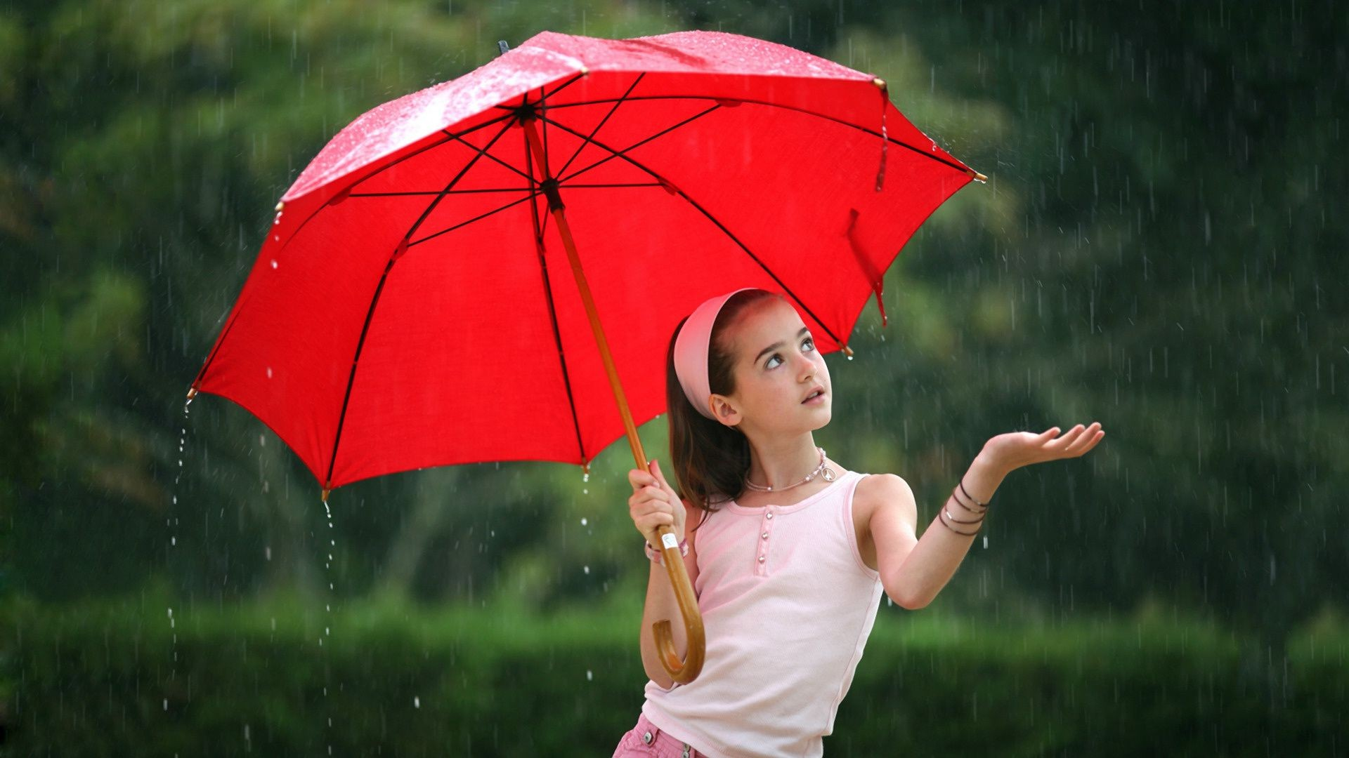 Girl Umbrella Red Rain Android Wallpapers For Free