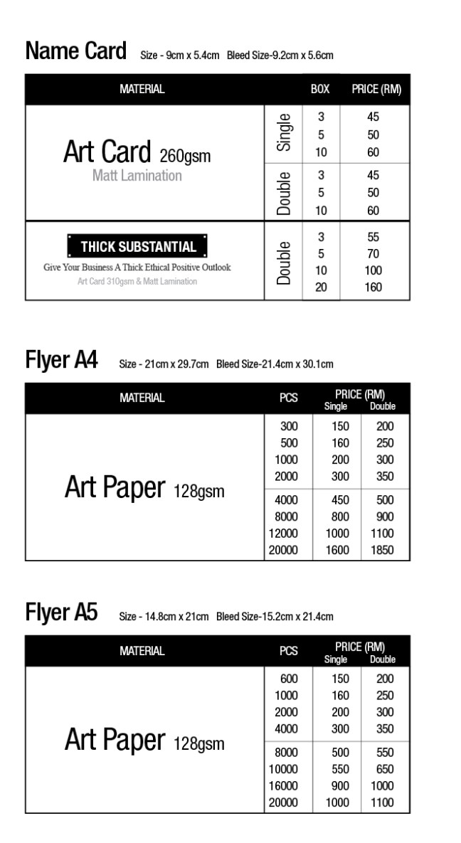 Namecard Flyer Printing KL Price List