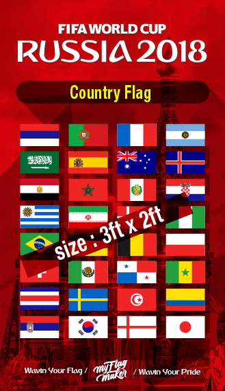 Fifa World Cup Russia 2018 Country Flag Bendera
