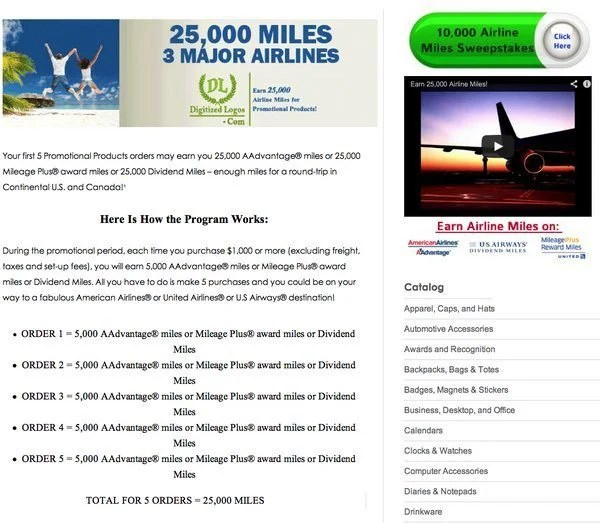 25,000 Miles For Buying Products With Your Logo!
