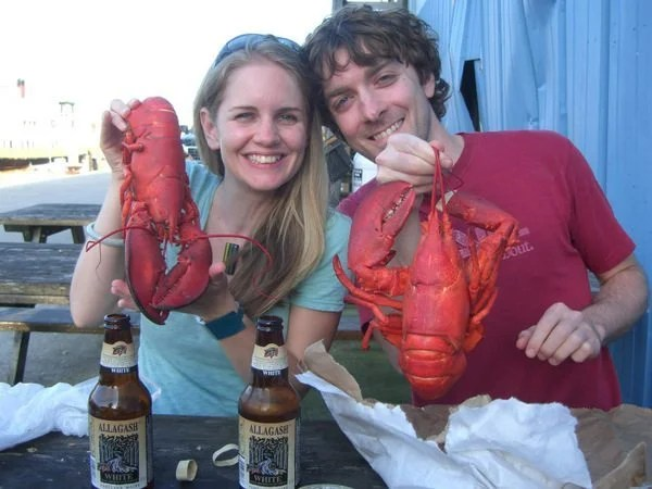 My wife and I enjoying good food and beer in Portland, Maine