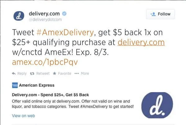 $5 Statement Credit for Spending $25 at Delivery.com & $7 for New Users!